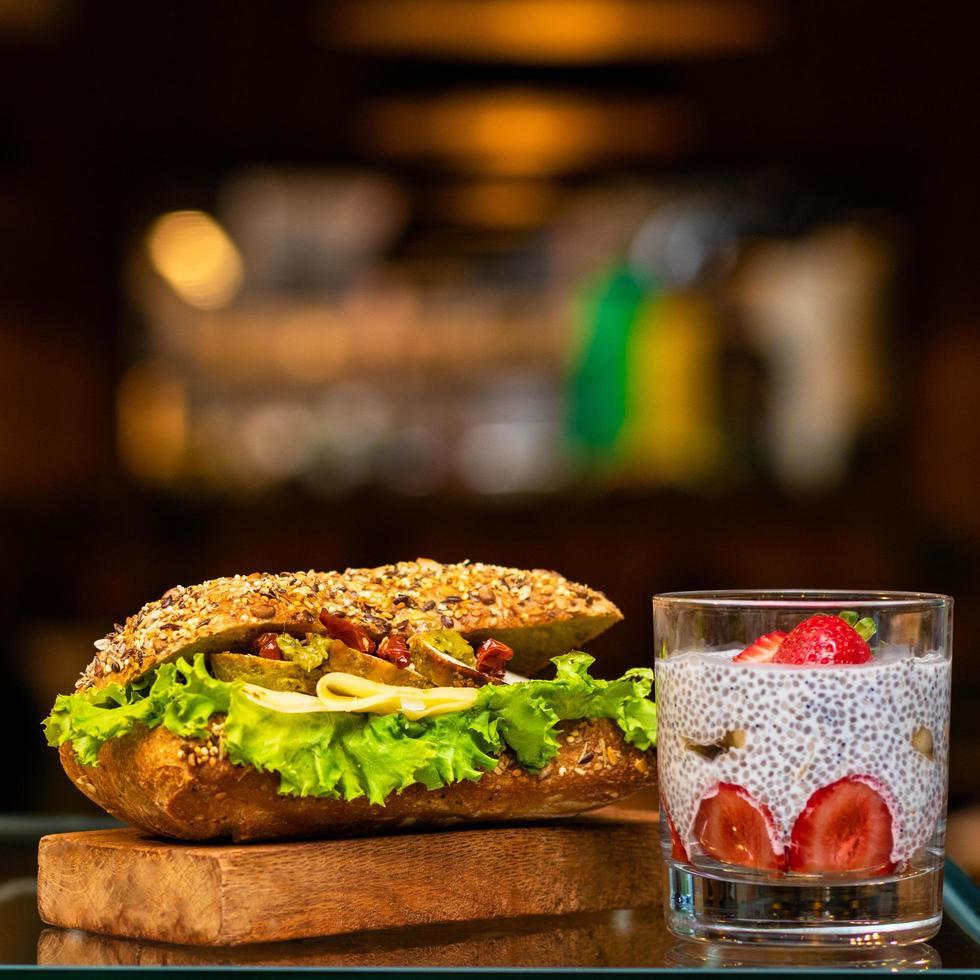 Chicken club sandwich photo
