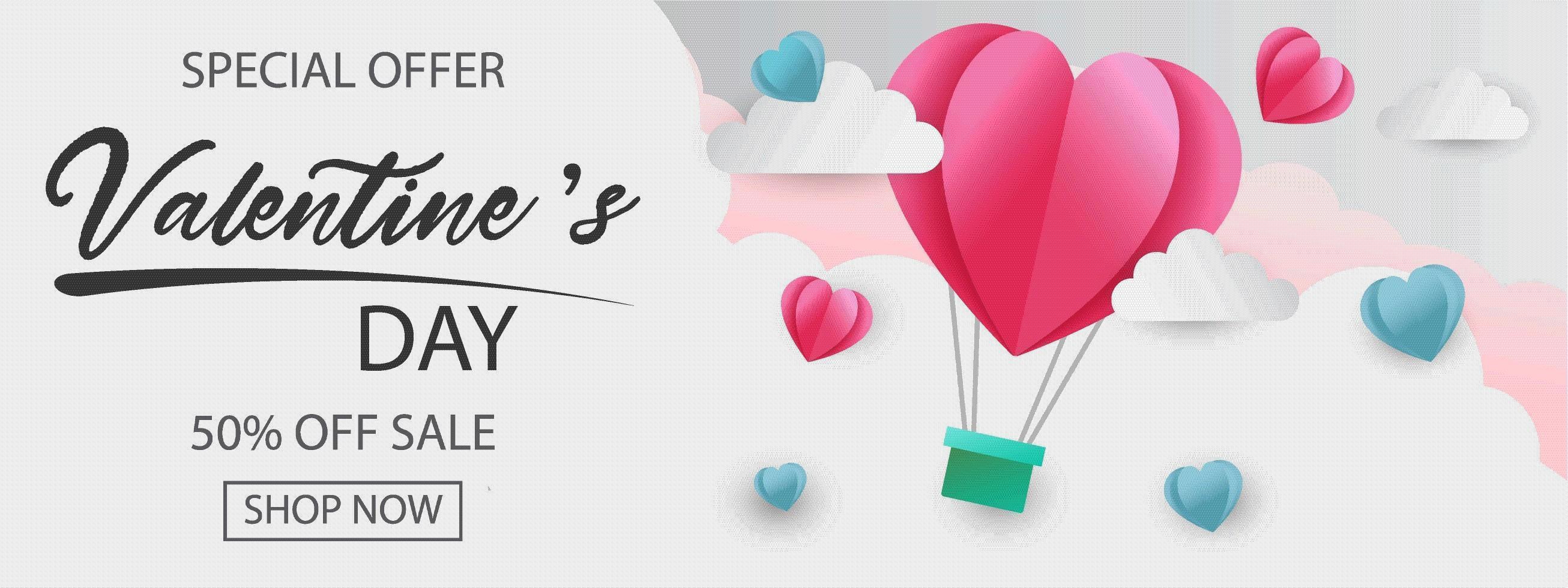 Banner de oferta especial de San Valentín con globo de corazón en las nubes. vector