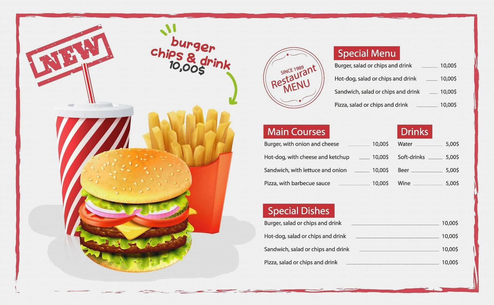 Hamburger And Fries stock vector. Illustration of fast - 21952208