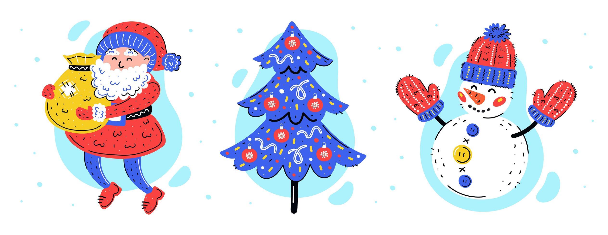 Santa Claus, christmas tree and snowman hand drawn set vector
