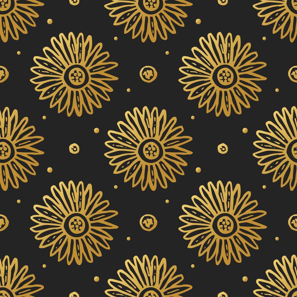 flor de oro flor en negro de patrones sin fisuras vector