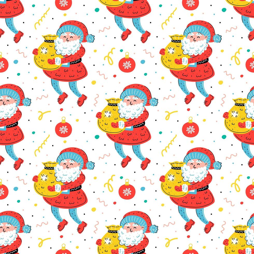 Santa Claus with sack hand drawn seamless pattern vector