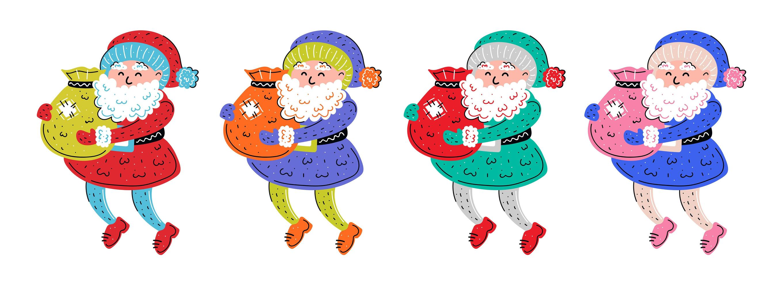 Colorful hand drawn Santa Claus set vector