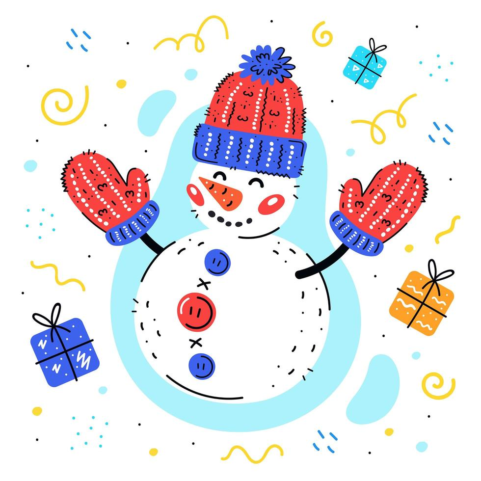 Snowman with woolen knitted hat and mittens with gifts vector