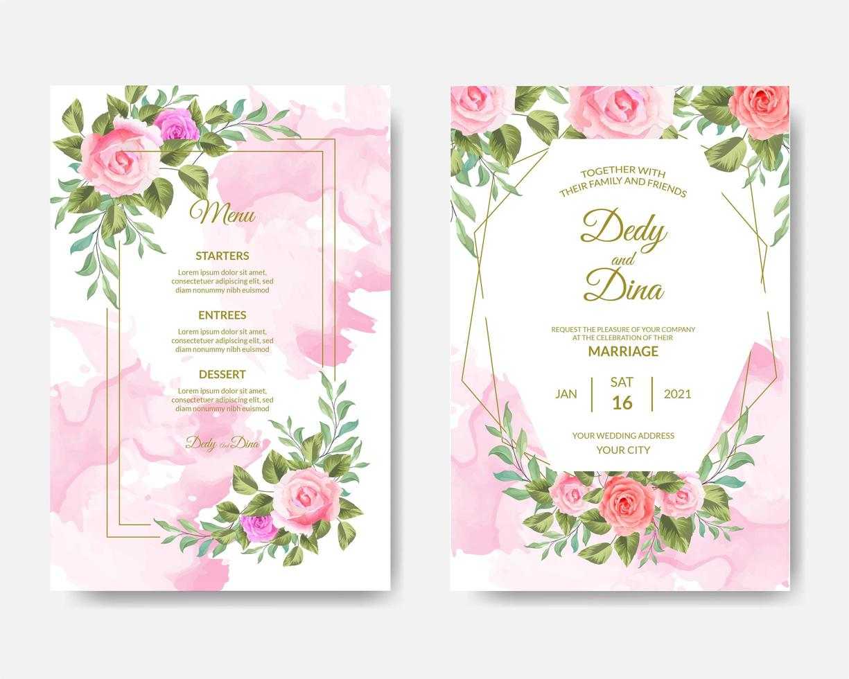 Beautiful pink watercolor and roses wedding card set vector