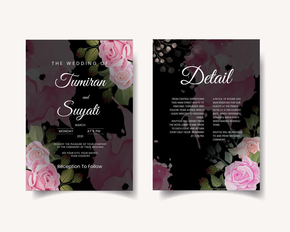 Dark wedding invitation card with roses vector