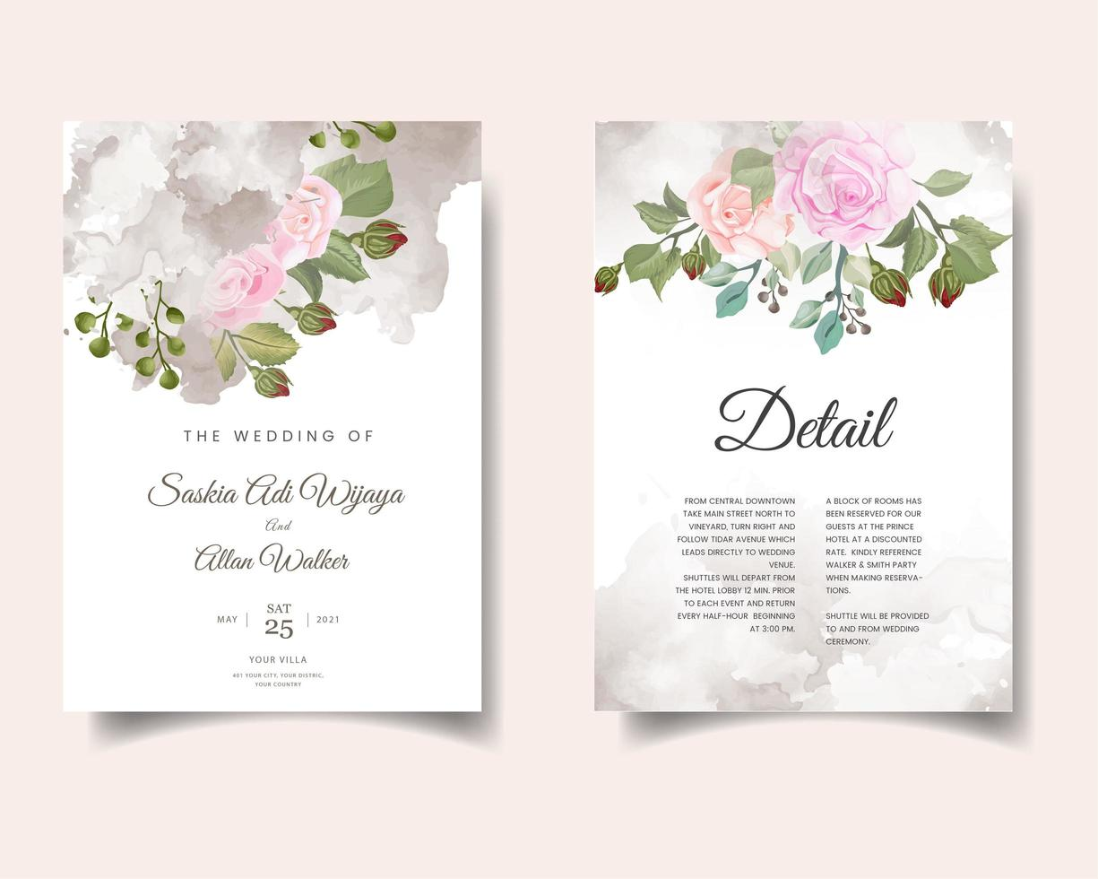 tarjeta de invitación de boda acuarela con flores vector