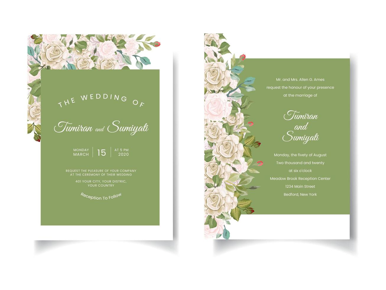 Green wedding invitation with floral borders vector