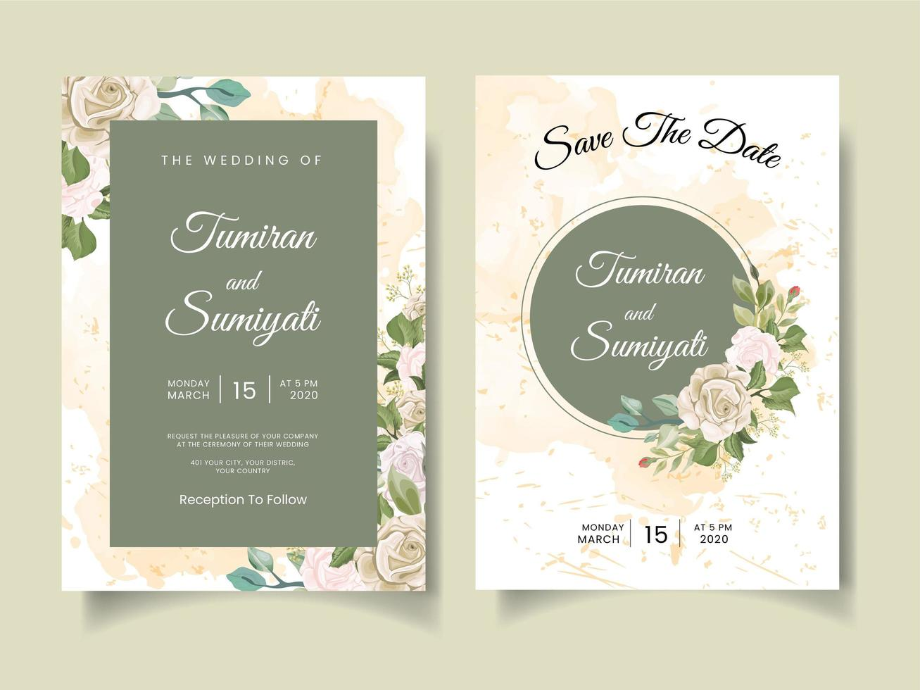 Beautiful wedding invitation with floral arrangements and watercolors vector