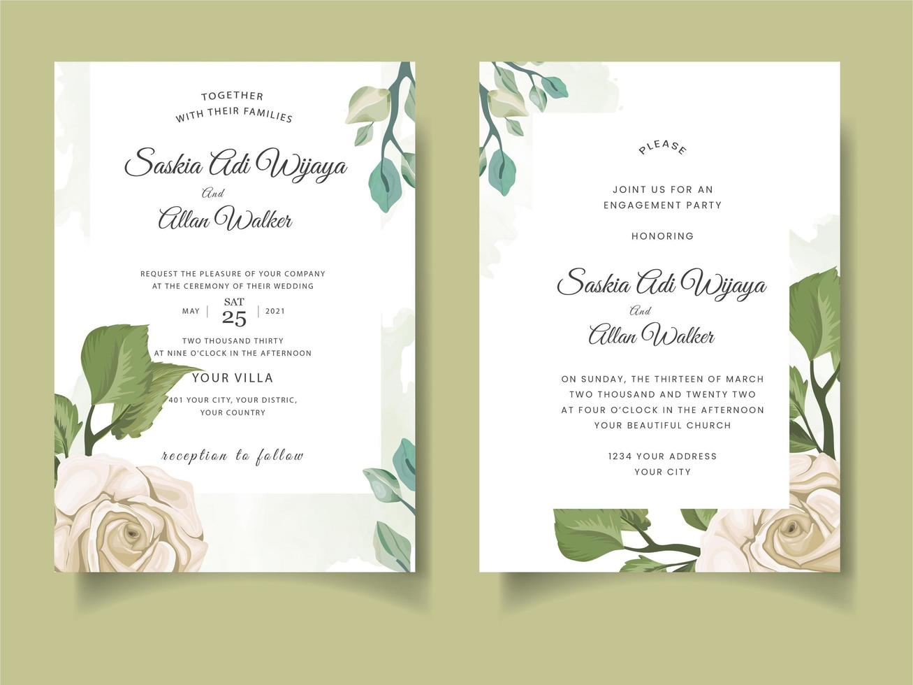 Wedding invitation card with roses and leaves vector