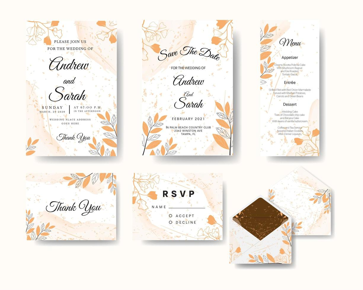 Wedding invitation set with floral line art and watercolor texture vector