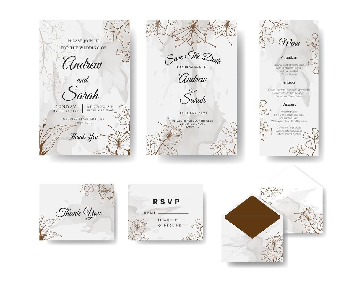 Brown floral line art and watercolor wedding inviyation set vector