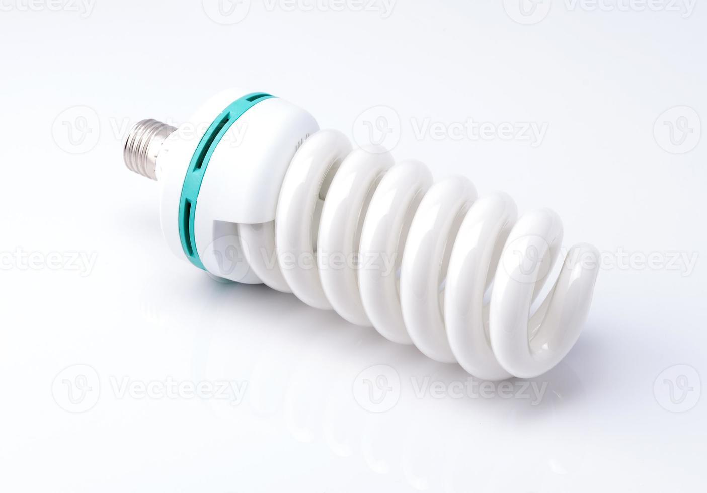 White energy saving lamp. Illustration on white background. photo