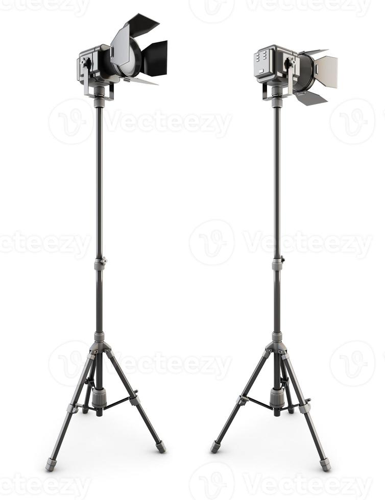 Studio lighting on tripod. 3d. photo