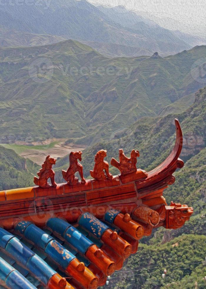 Qilin and dragon figurines , china photo