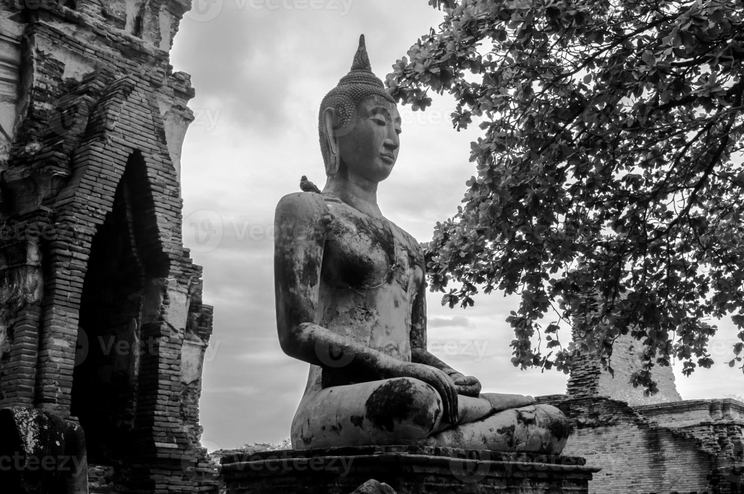Ruin of ancient buddha temple in Thailand photo