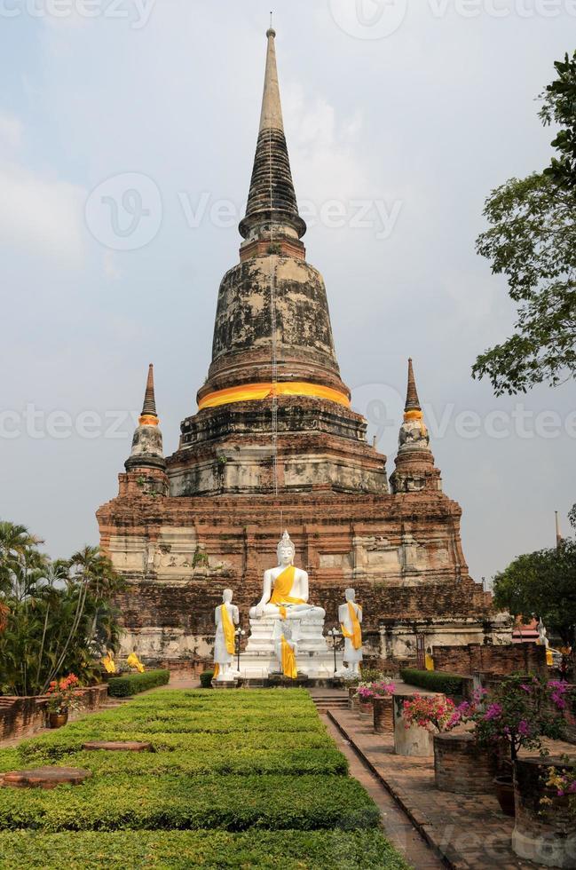 Buddhist sculpture at Temple in Ayuthaya Thailand photo