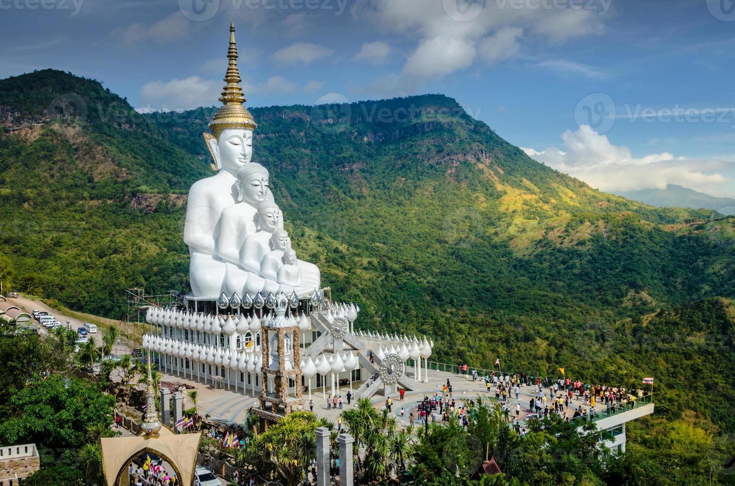 White big Buddha on the mountain, Wat Pha Sorn Kaew photo