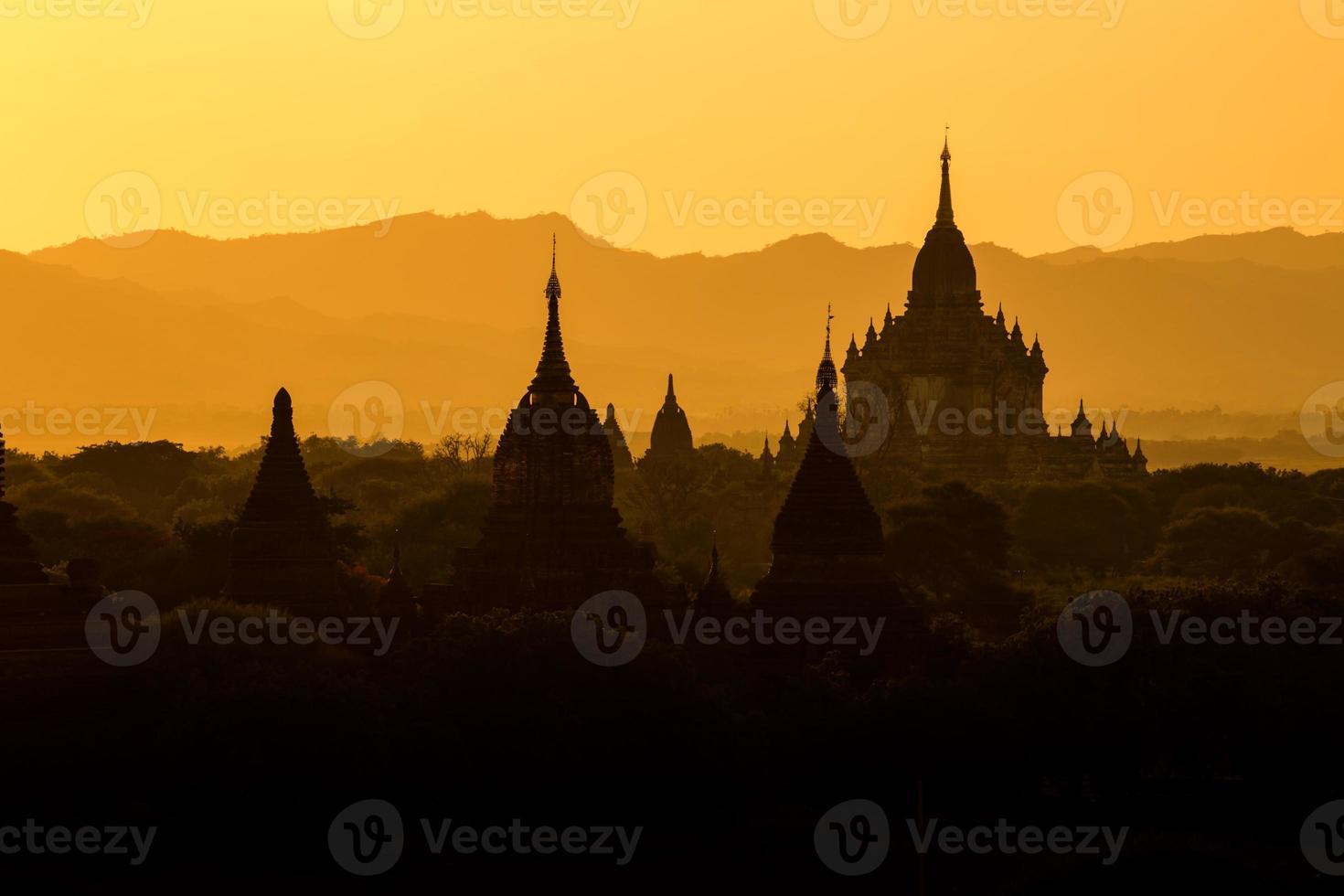 Sunrise at Bagan pagoda Myanmar. photo