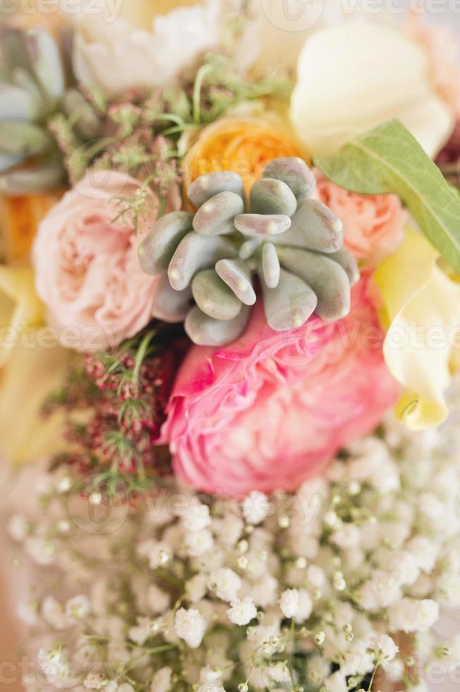Colorful bridal bouquet photo
