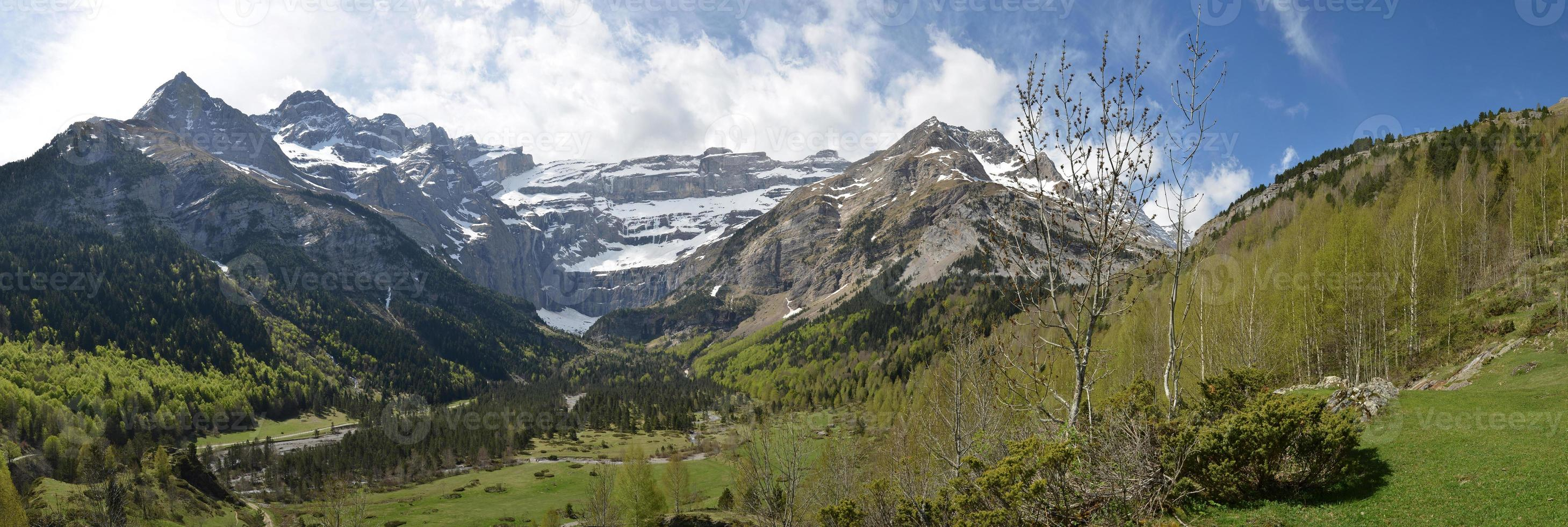 Spring panoramic view of the cirque of Gavarnie photo