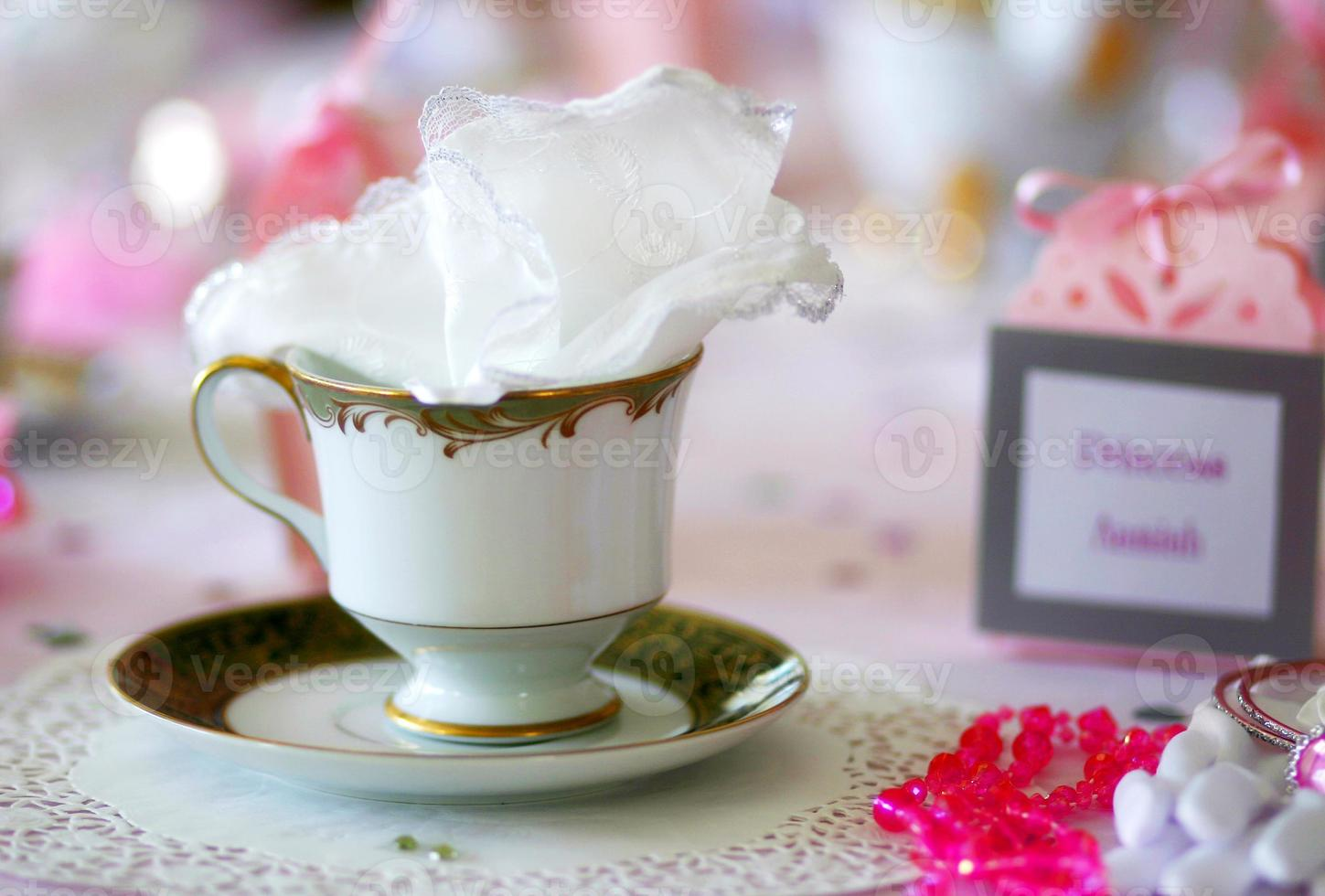 Close up of china tea cup photo