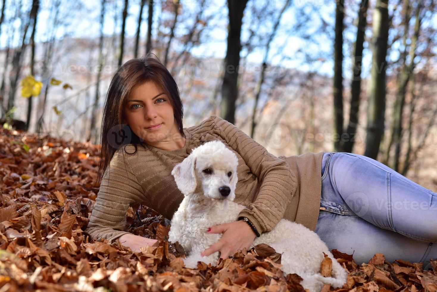 Girl with her dog photo