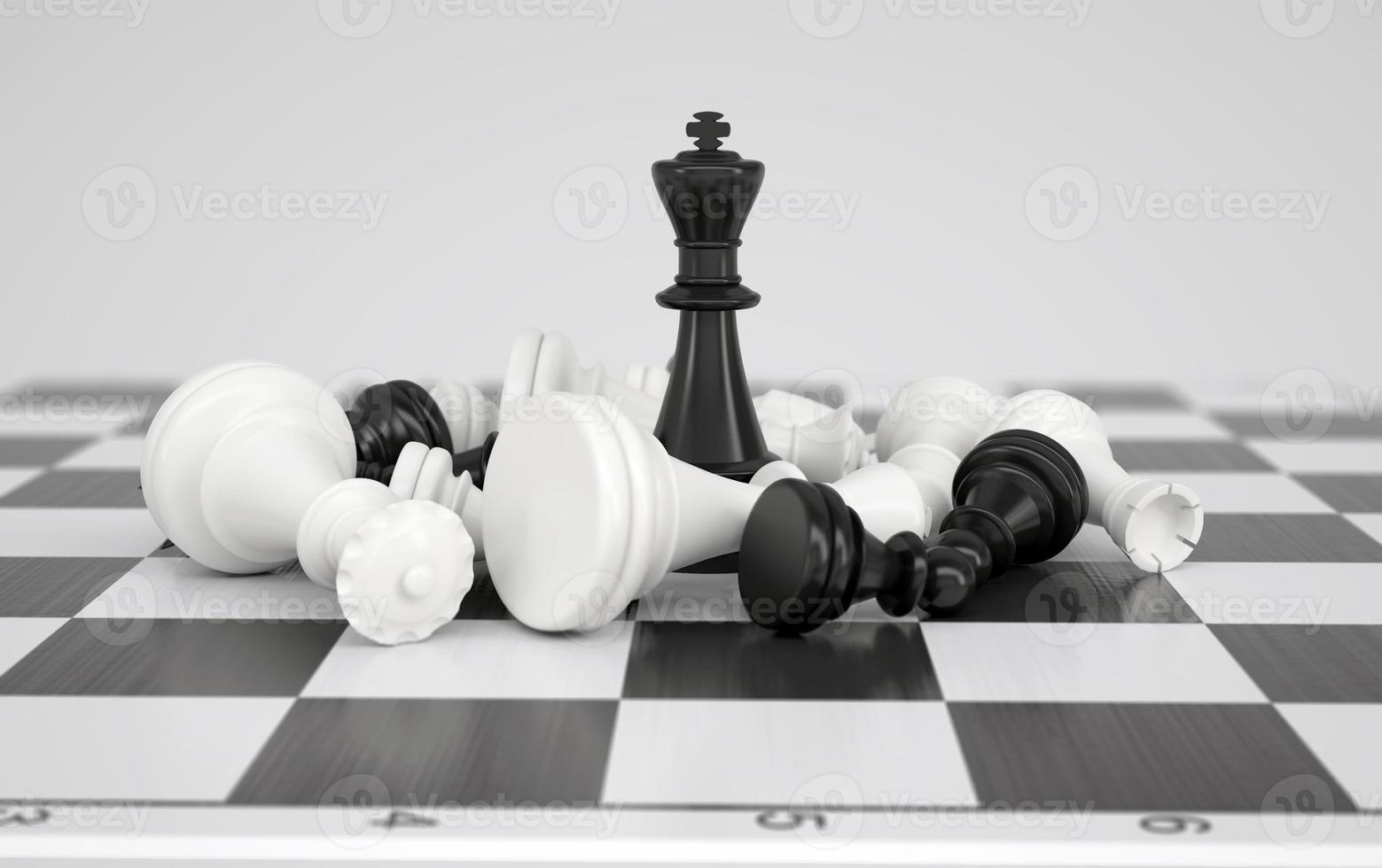 roi d'échecs noir au milieu de la bataille photo