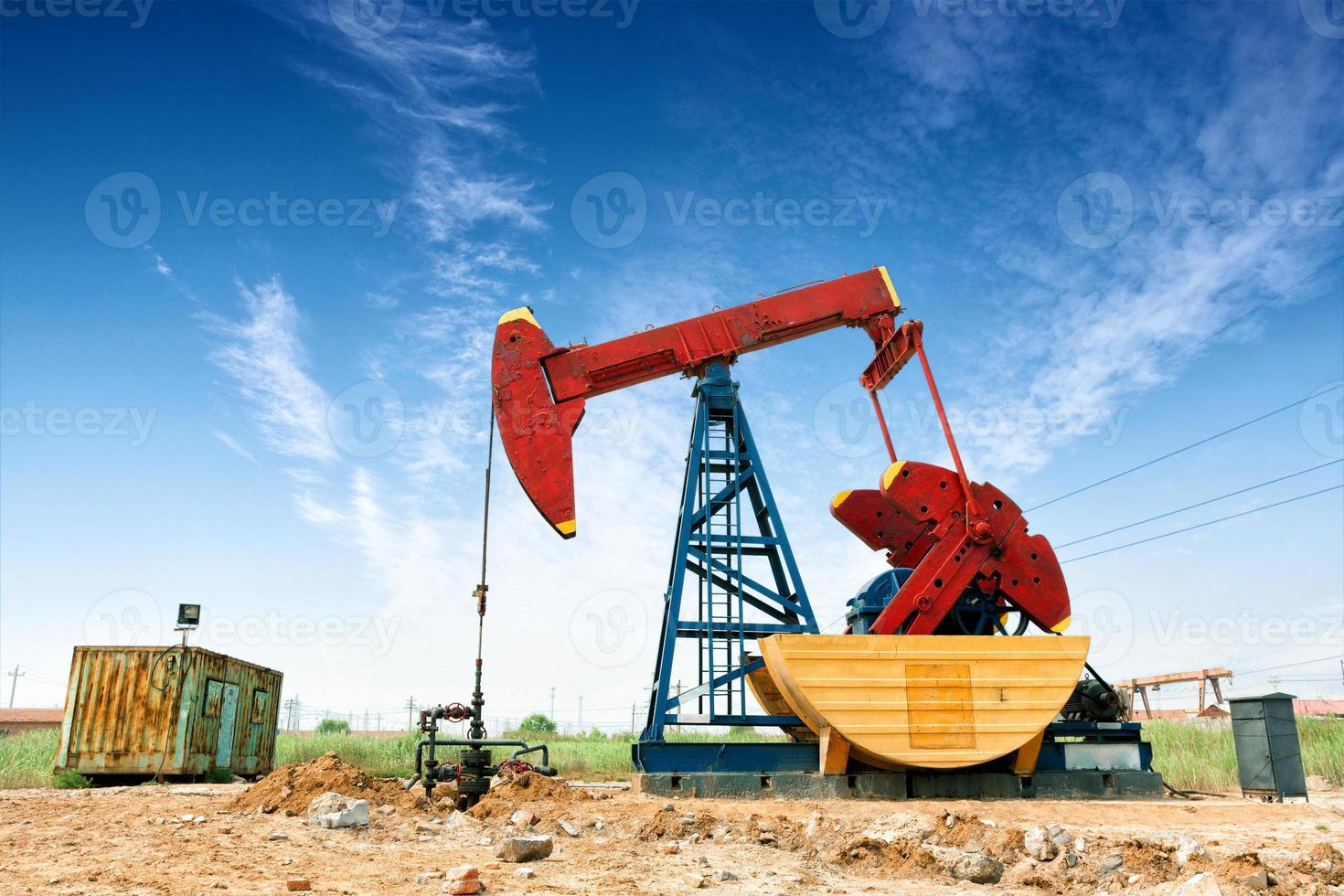 oil field and blue sky photo