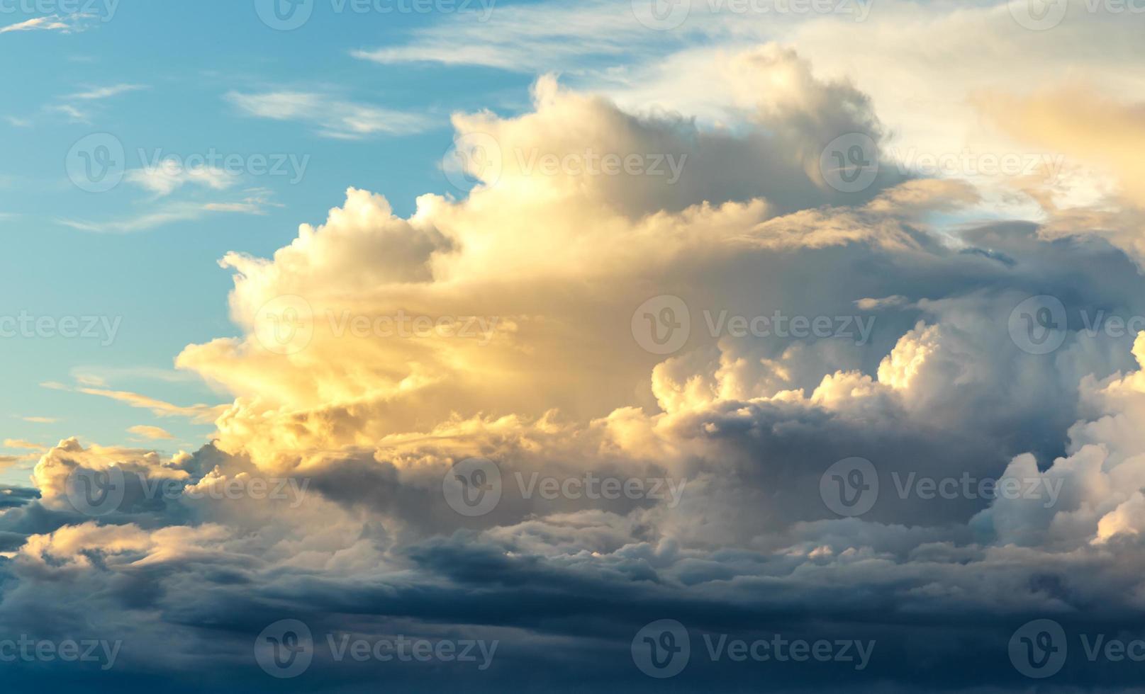 Sunset on blue sky background photo