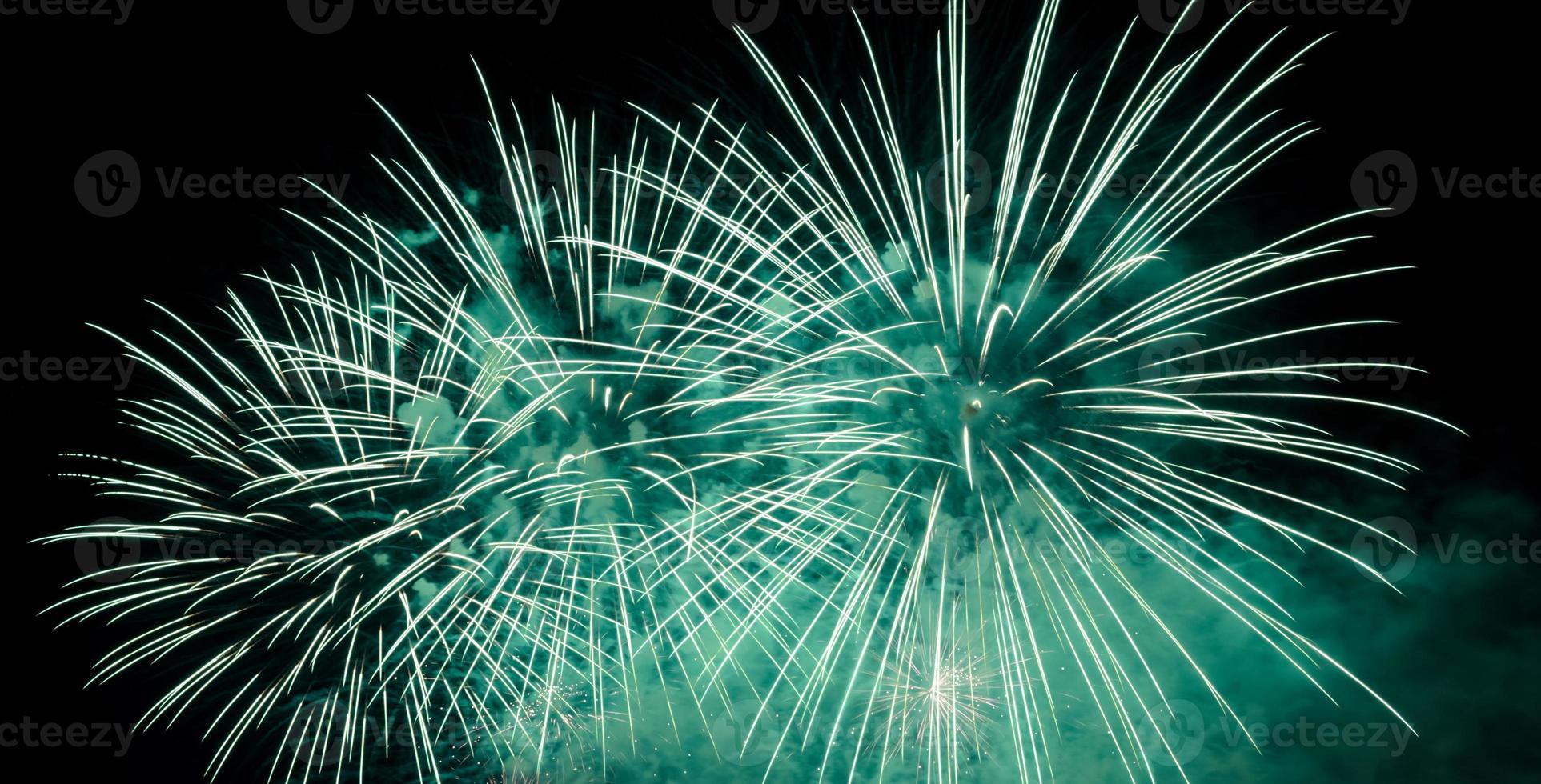 fuegos artificiales verdes en el cielo nocturno foto