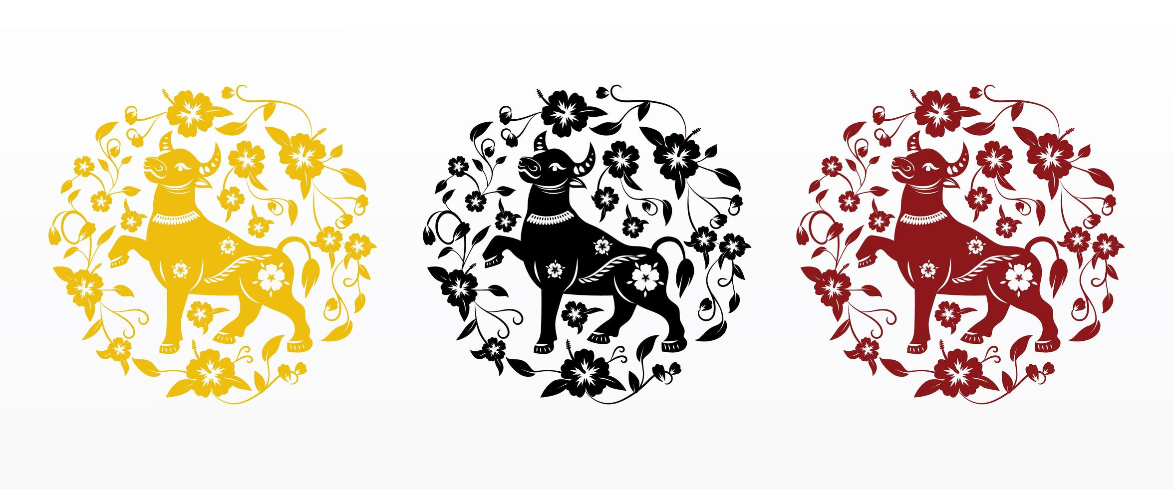 Chinese new year 2021 ox in floral circular pattern vector