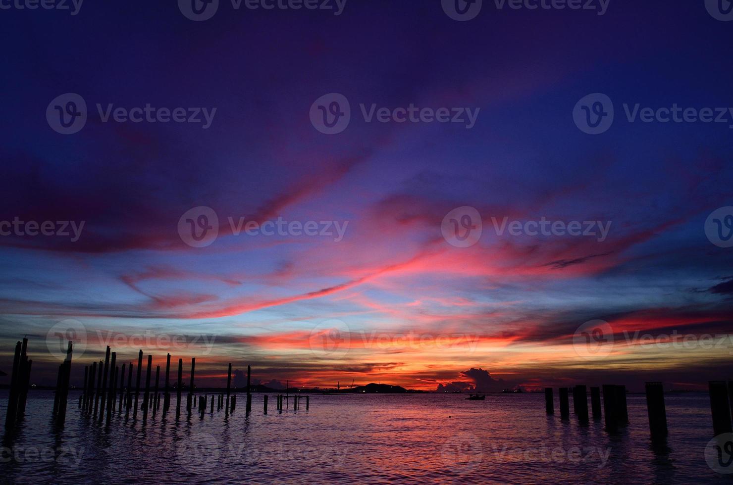 Sichang island silhouette with twilight sky photo