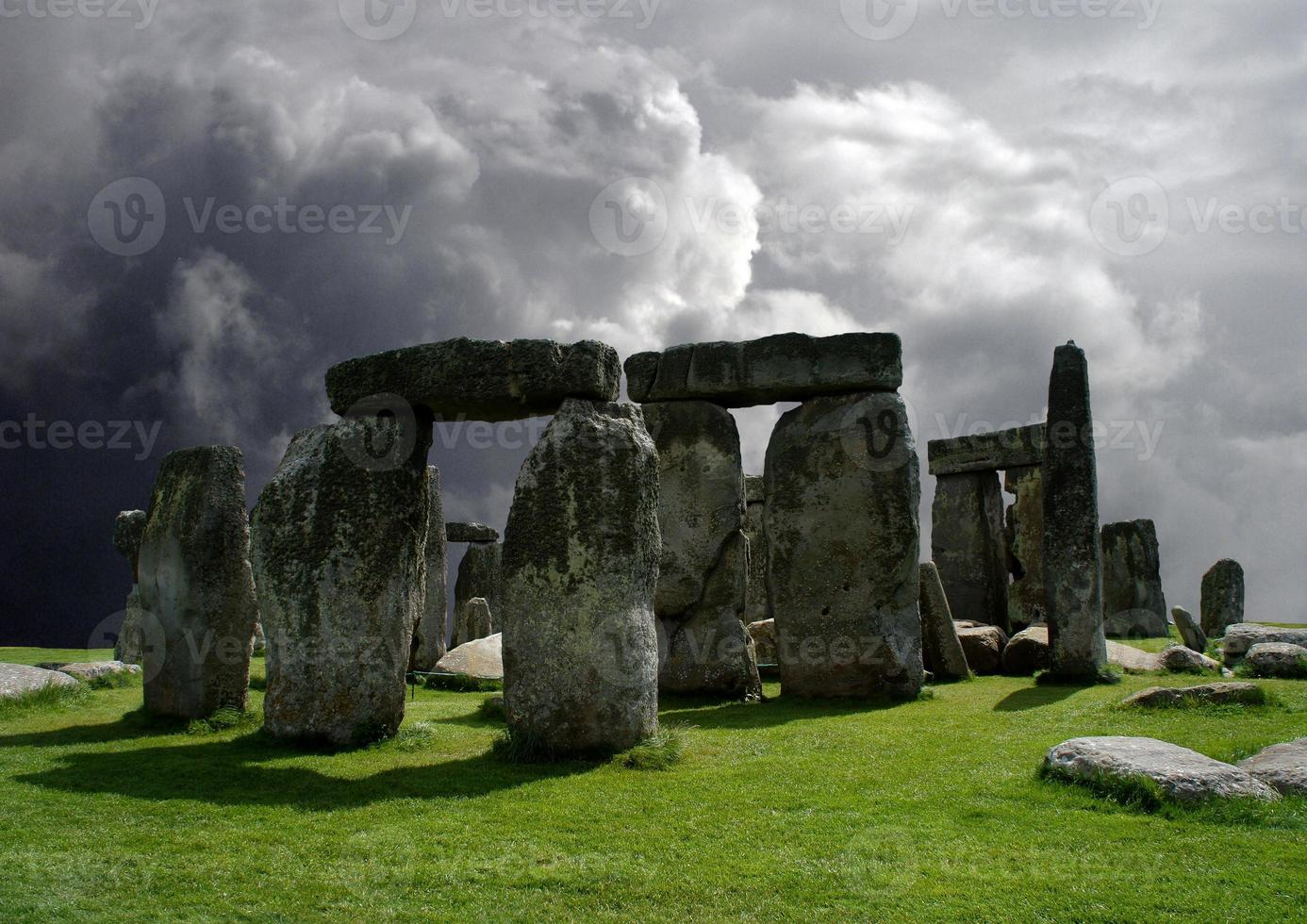 Stonehenge in the background of a cloudy sky. photo