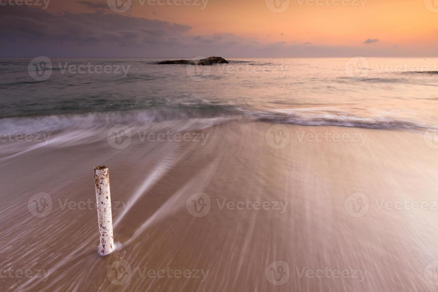 Beautiful seascape with sunset or sunrise and cloudy sky photo