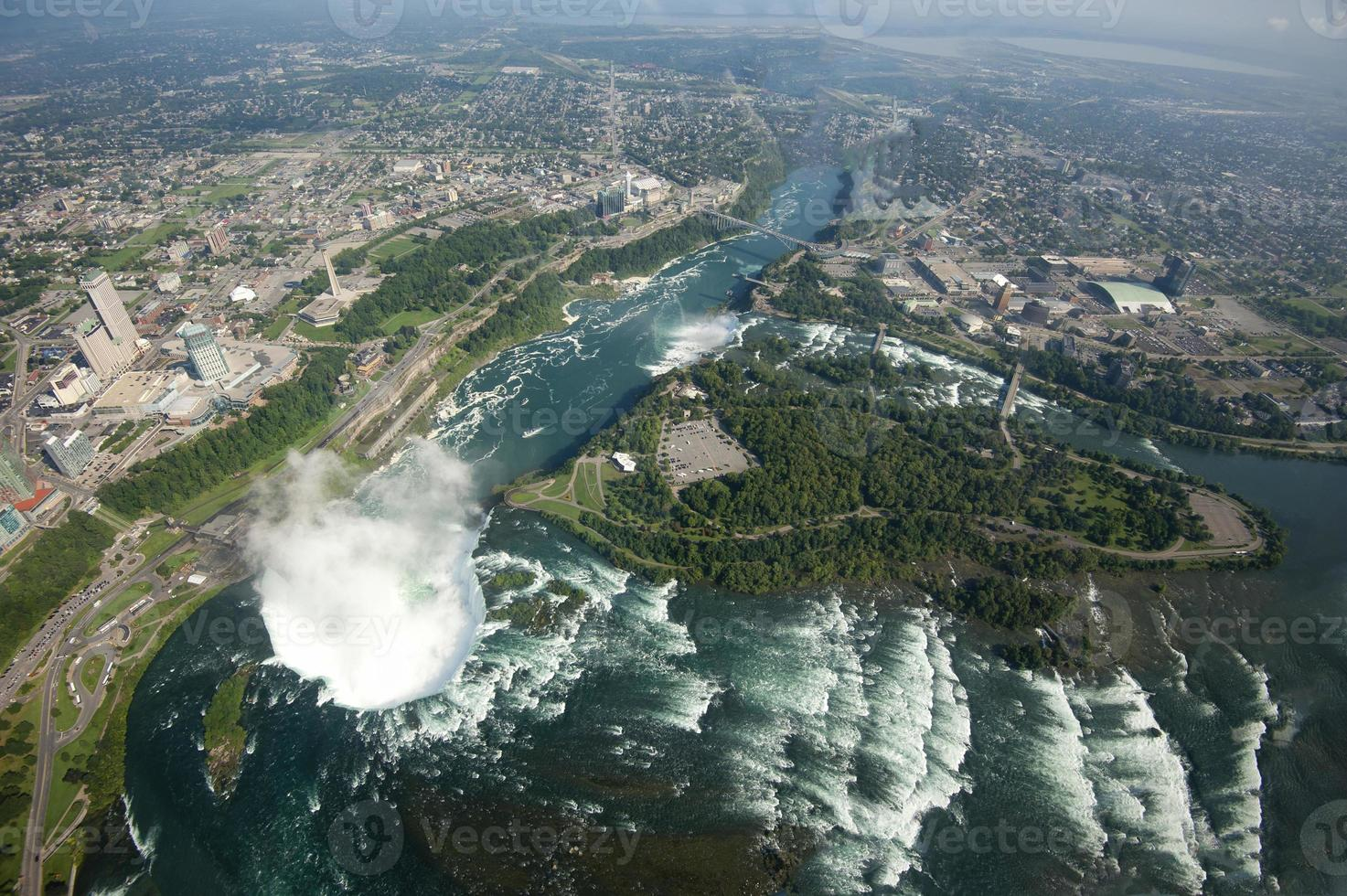 Niagara Falls area viewed from helicopter photo