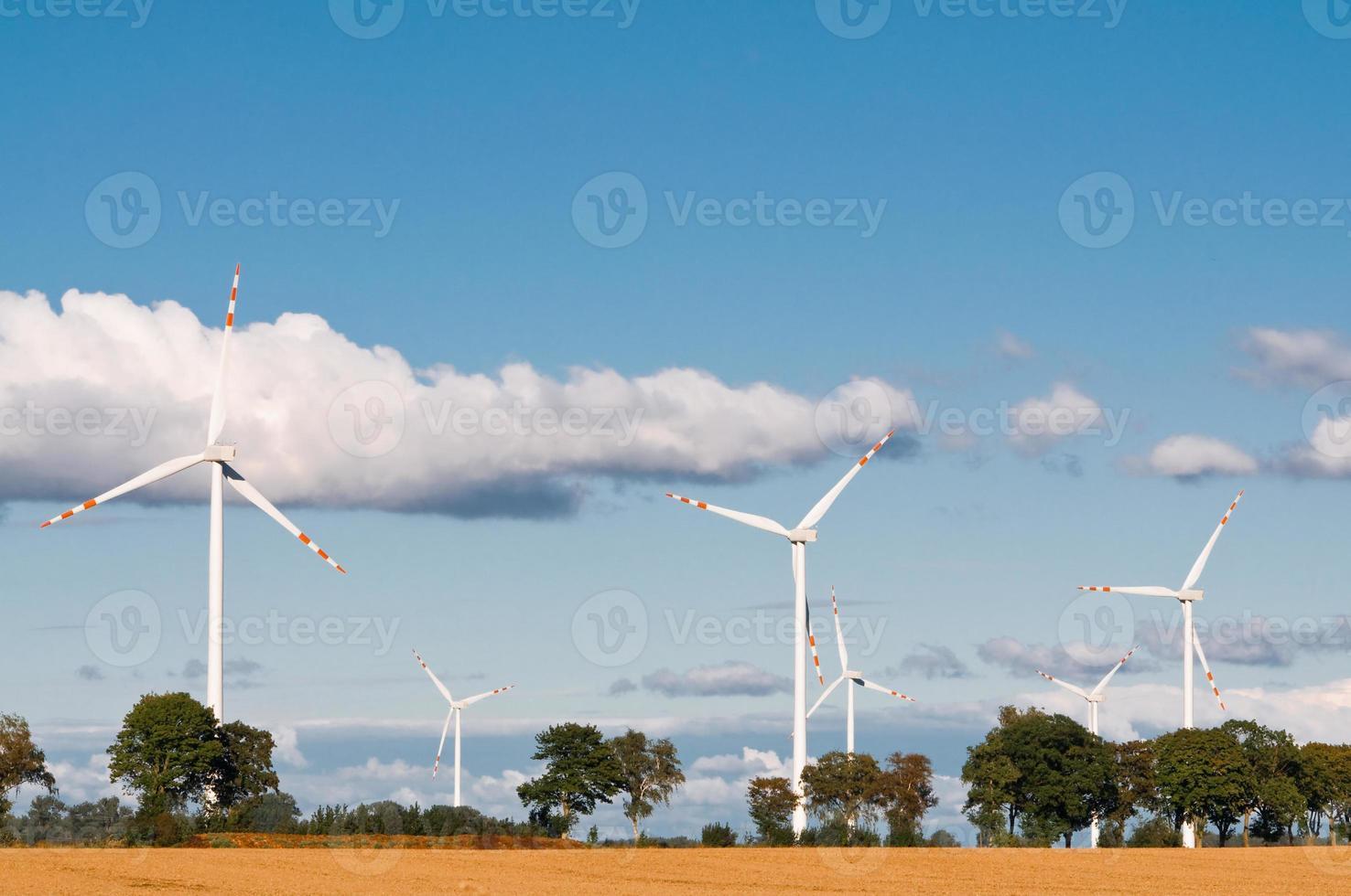Wind turbine farm on rural terrain photo