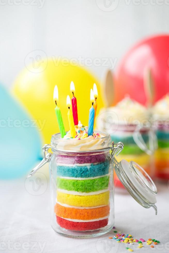 Rainbow birthday cake in a jar photo