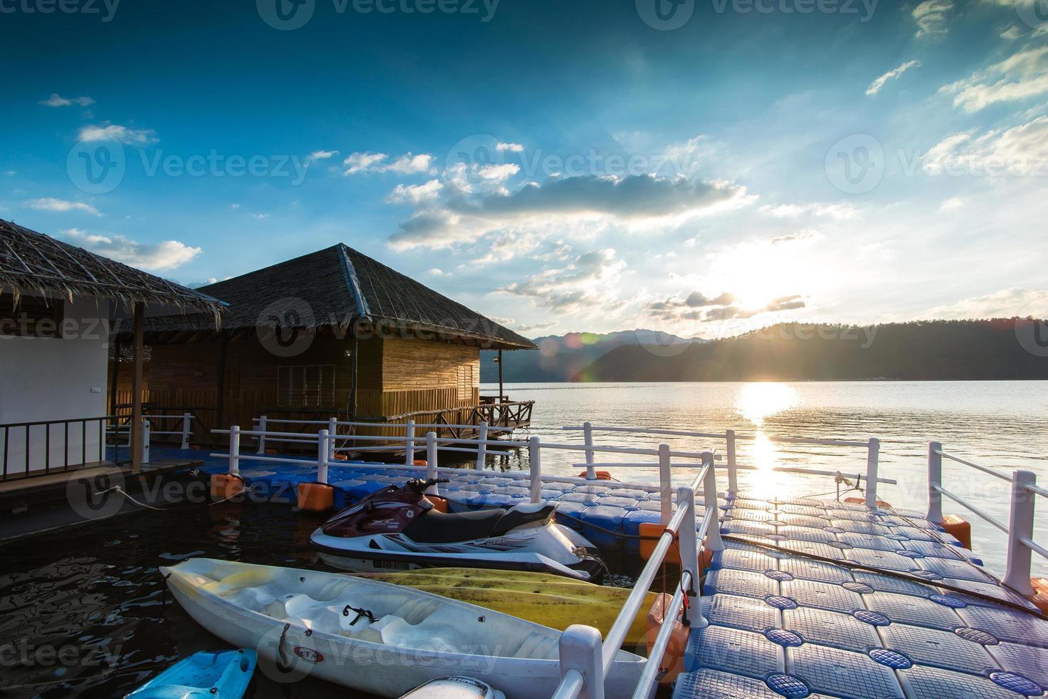 raft resort lake cloud blue sky resort river water photo