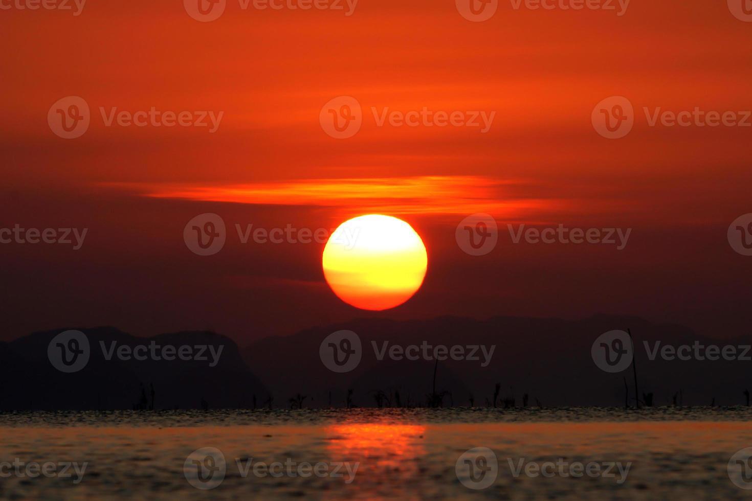 Sunset sky and big sun, Thailand. photo
