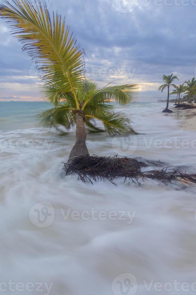 amanecer en la playa tropical. foto
