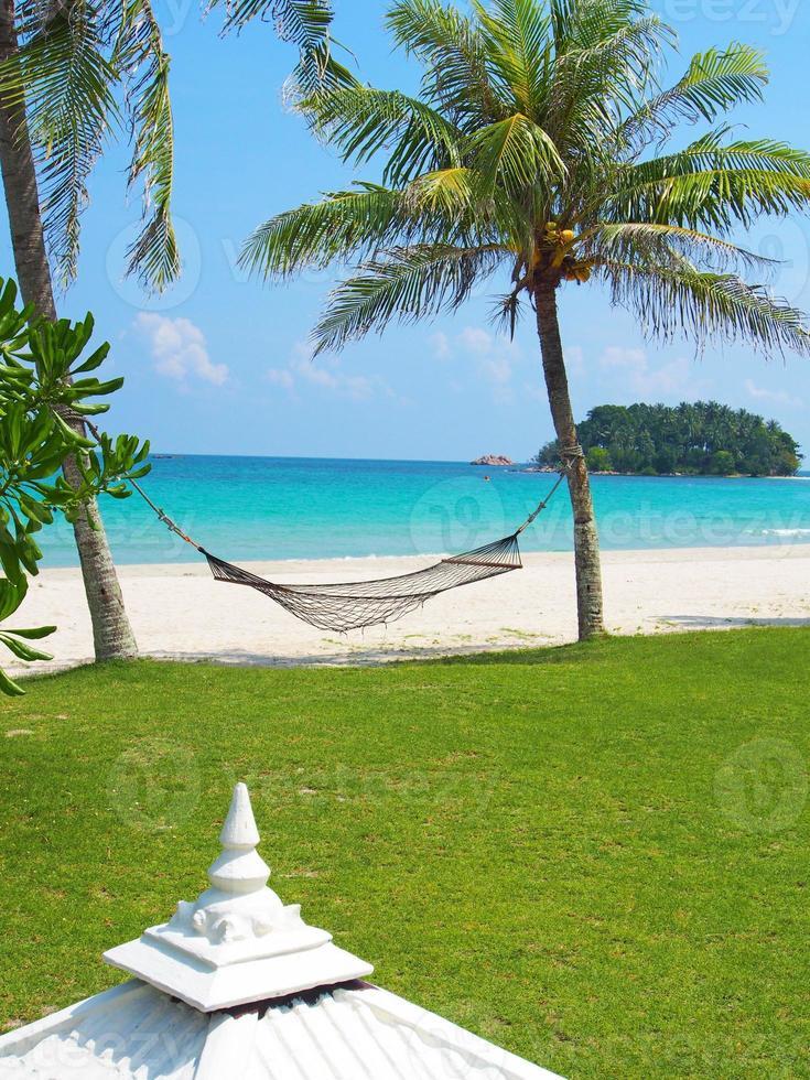 Hammock at beach in Indonesia photo