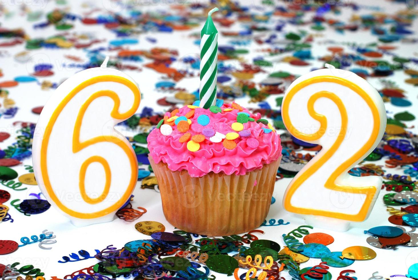 Celebration Cupcake with Candle - Number 62 photo
