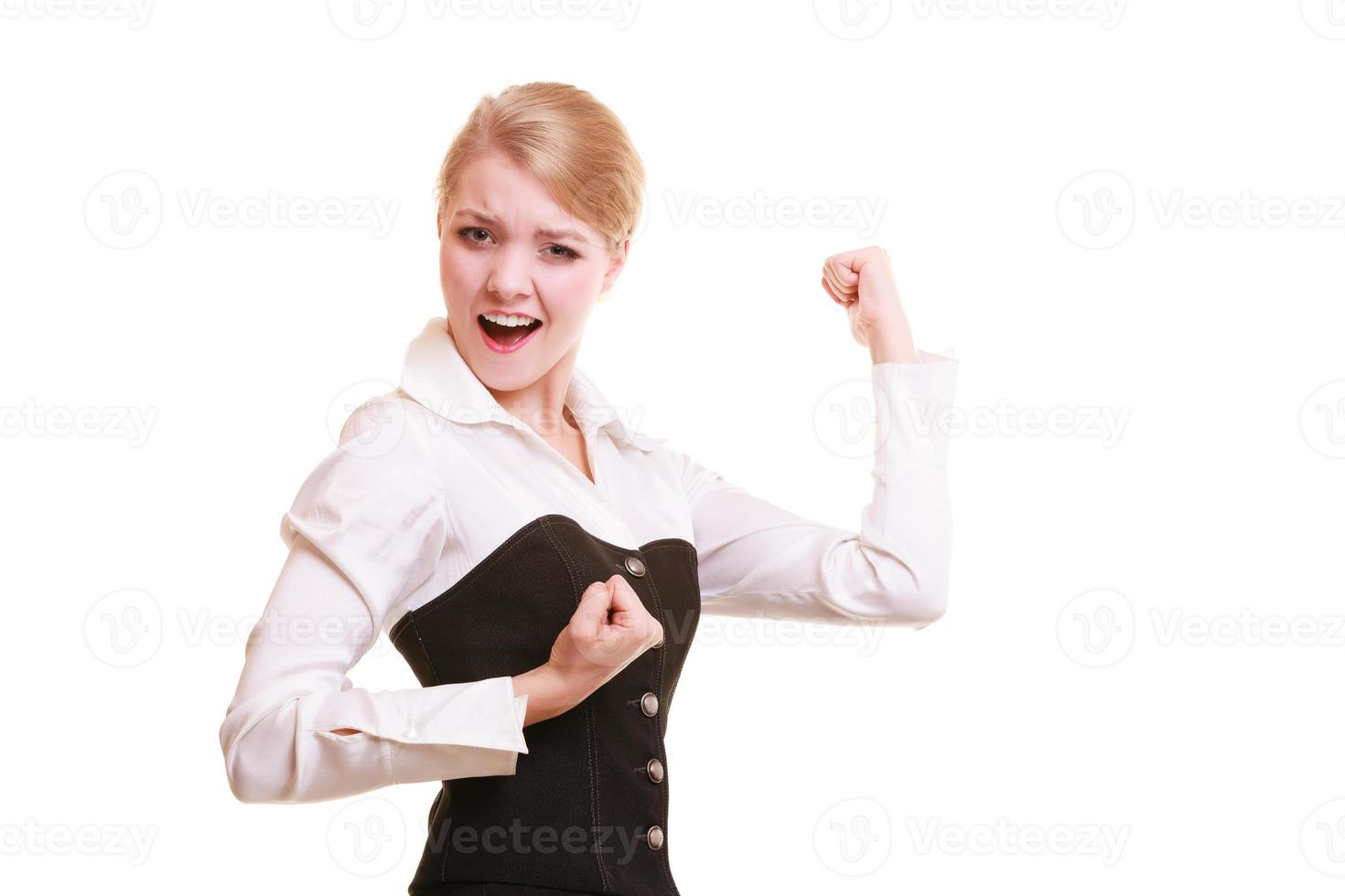 Success in work. Businesswoman celebrating promotion photo
