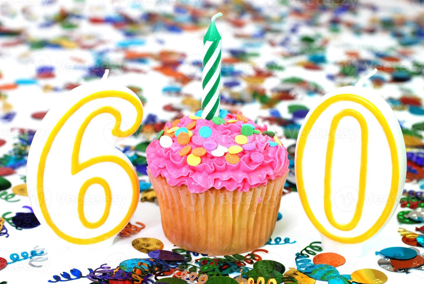 Celebration Cupcake with Candle - Number 60 photo