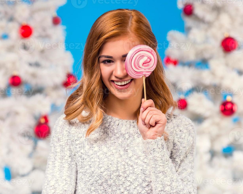 Woman celebrating Christmas photo