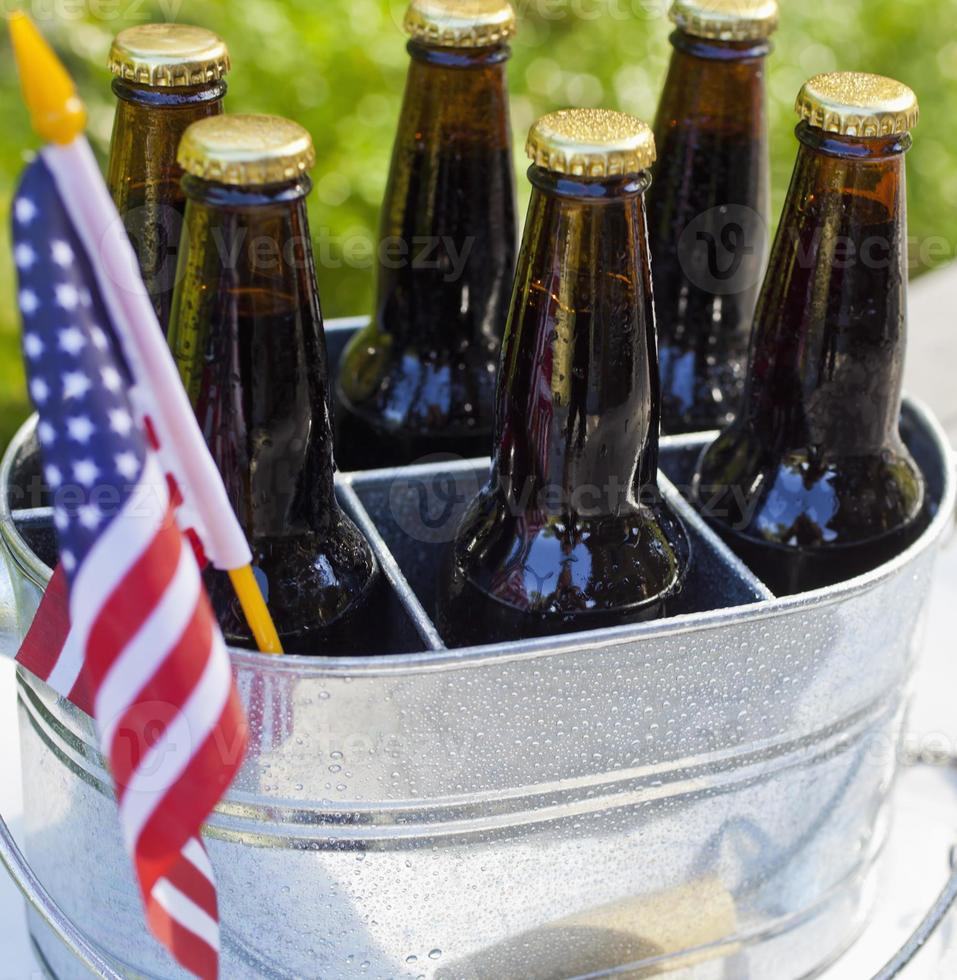 Beer and American flag. photo