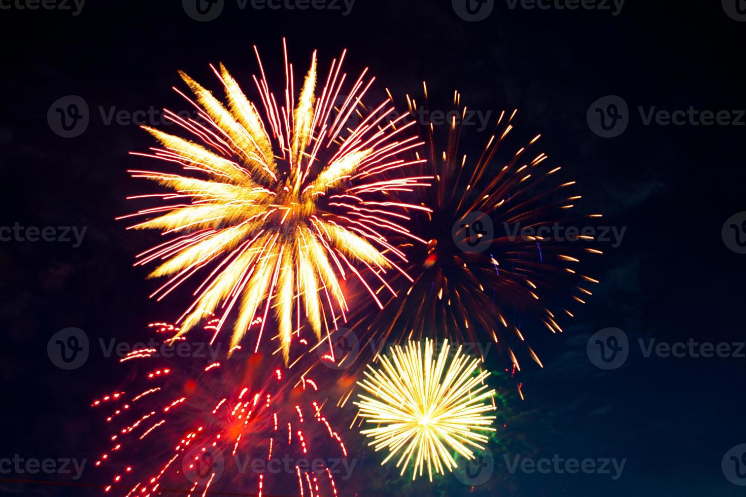 Brightly colorful fireworks and salute of various colors photo