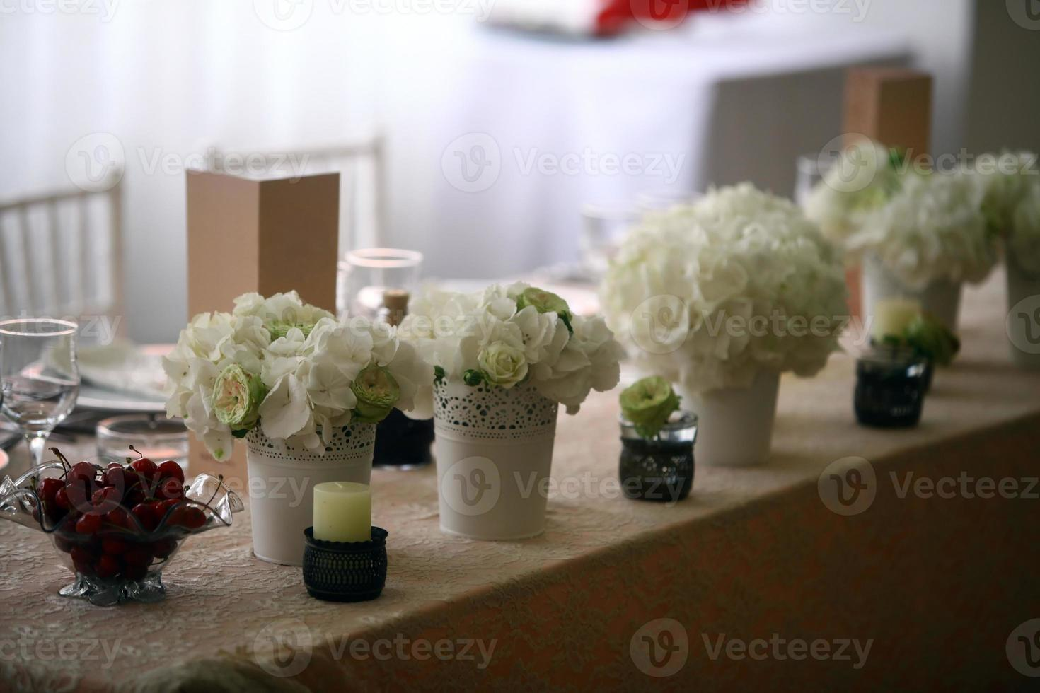 Flowers on a table photo