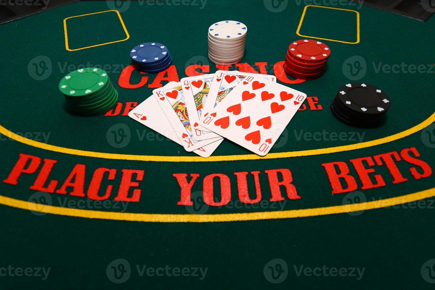 Royal flush on the poker board photo